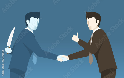 Fototapeta Bad Businessman Betray to the Other, Concept iDea of Bad Business People. Simple Flat Vector. obraz