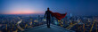 canvas print picture - Businessman in suit and cape hero stand at rooftop looking great cityscape view and thinking business plan of the future . Night scene .