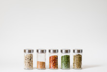 Row Of Five Spice Jars Isolate...