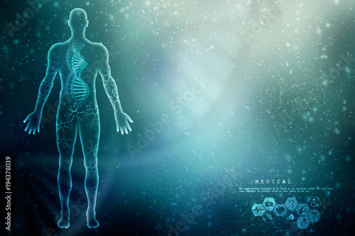 Fotografie, Obraz  2d render of dna structure, abstract background