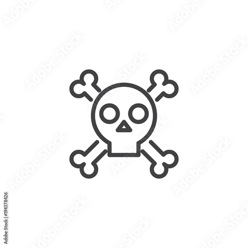 Photo  Skull with crossed bones outline icon