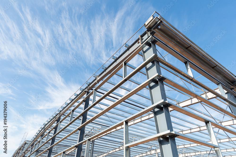 Fototapeta steel frame workshop is under construction