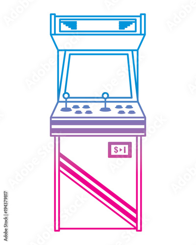 Photo vintage arcade game machine with joysticks and buttons vector illustration degra