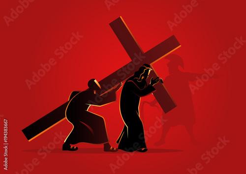 Valokuvatapetti Simon of Cyrene Helps Jesus Carry His Cross