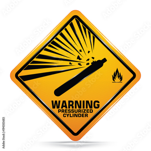 Fotografie, Obraz  International Pressurized Cylinder Hazard Symbol,Yellow Warning Dangerous icon on white background,Attracting attention Security First sign,Fuel industry manufacturing business concept,Vector,EPS10
