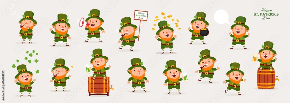 Fototapeta Leprechaun, Patricks Day, Great Collection of Emotional Characters, Isolated Objects for Design, Vector Illustration, Large Set
