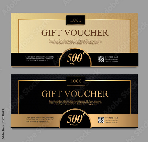 Voucher Template With Gold And Certificate Background Design Coupon