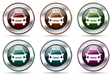 Taxi Vector Icon Set. Silver M...