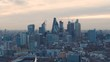 The Central London skyline during sundown. Aerial view.