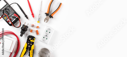 electrician equipment on white background with copy space. top view