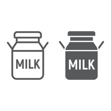 Milk Can Line And Glyph Icon, ...