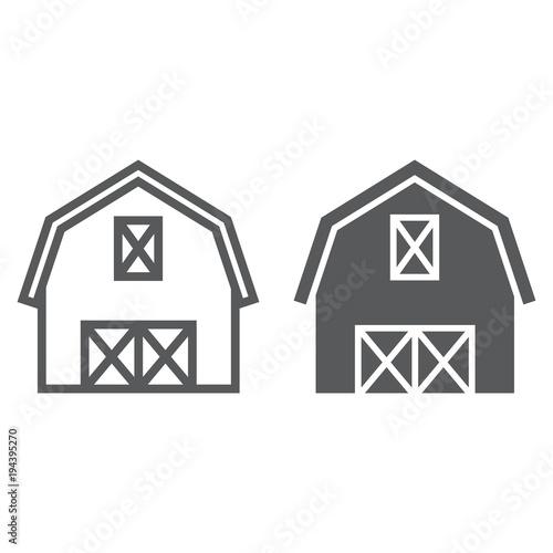 Obraz na plátně Farm barn line and glyph icon, farming and agriculture, farm hangar sign vector graphics, a linear pattern on a white background, eps 10