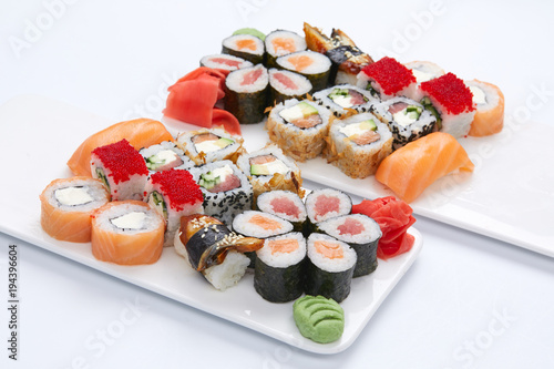 Staande foto Sushi bar sushi set on the white background