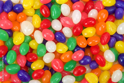 Fotografie, Obraz  Many brightly colored jelly beans in a rainbow of colors