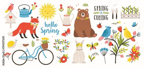 Spring set. Collection of cute animals, birds and insects, blooming flowers and floral decorations, bicycle isolated on white background. Bright colored vector illustration in flat cartoon style. © Good Studio