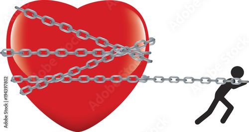 cuore legato con catena trascinato e conteso Fototapeta