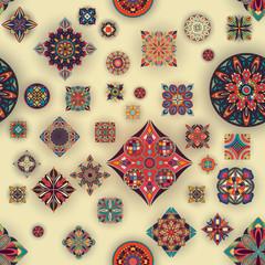 FototapetaSeamless pattern with decorative mandalas. Vintage mandala elements.
