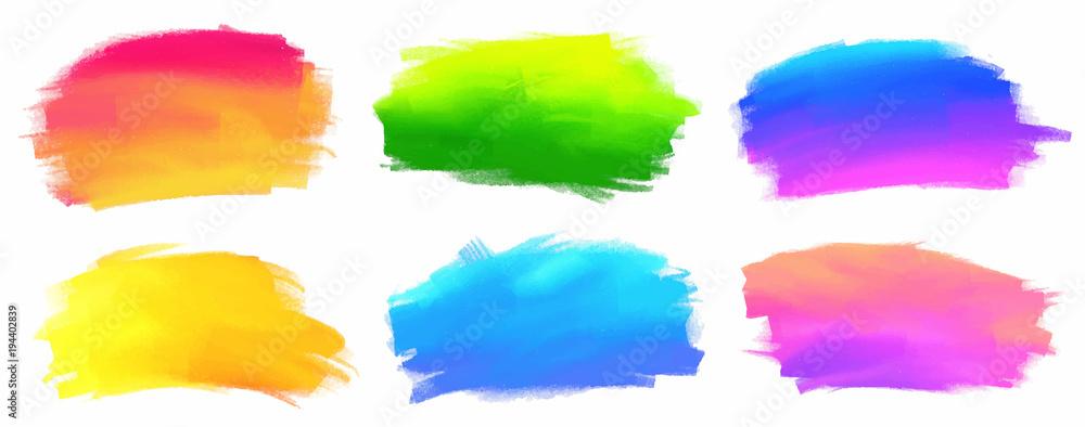 Fototapeta Vibrant spectrum colors vector acrylic paint stains