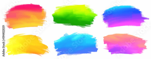 Vibrant spectrum colors vector acrylic paint stains