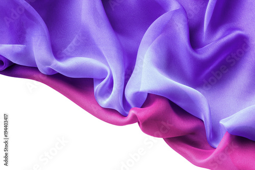 Fotografie, Obraz  drapery of multicolor chiffon isolated on white background