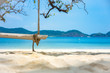 Wooden swing on tropical beach for summer and vacation