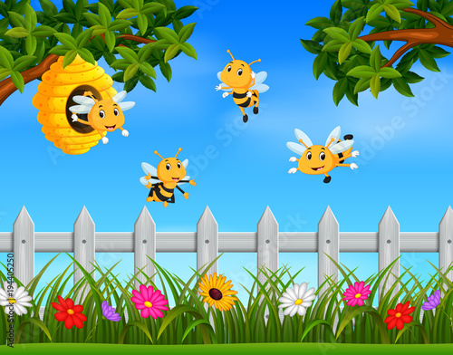 Illustration of bee flying around a beehive in the garden Fototapete
