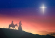 canvas print picture - Christmas religious nativity concept: Silhouette pregnant Mary and Joseph with a donkey on star of cross background