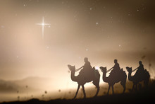 Christmas Religious Nativity Concept: Prophecy Magi And His Friend With Three Camel On Desert Was Going To Bethlehem City In Christmas Eve.