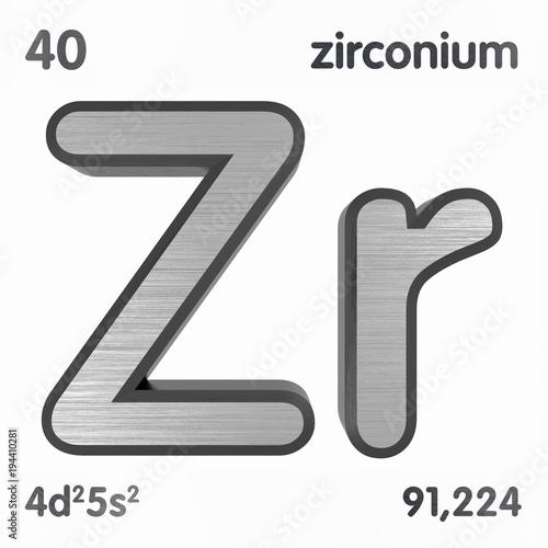 Zirconium zr chemical element sign of periodic table of elements zirconium zr chemical element sign of periodic table of elements 3d rendering urtaz Gallery