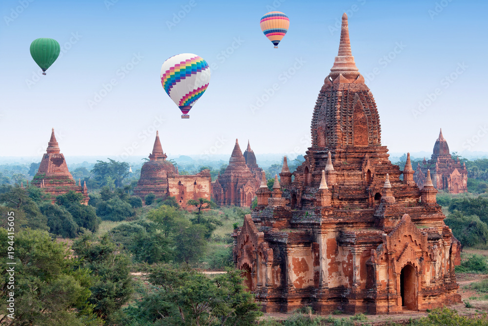 Fototapeta Colorful hot air balloons flying over Bagan, Mandalay division, Myanmar