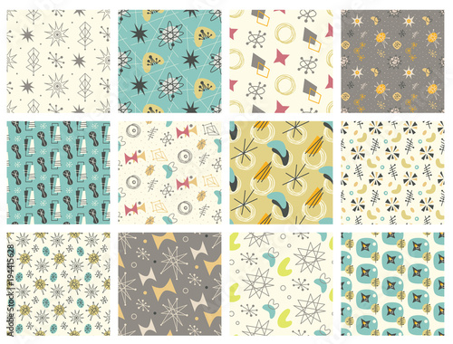 Photo Set of Mid century modern seamless pattern