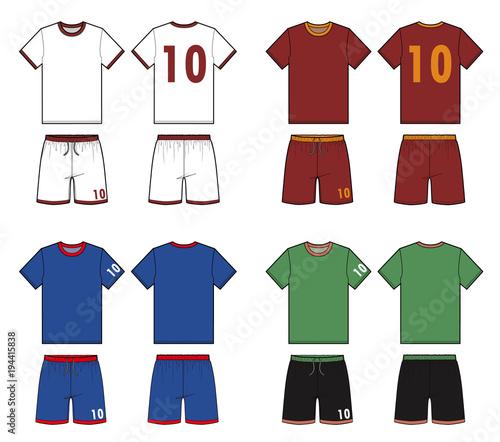 Football Soccer Uniform Fashion Flat Technical Drawing Template