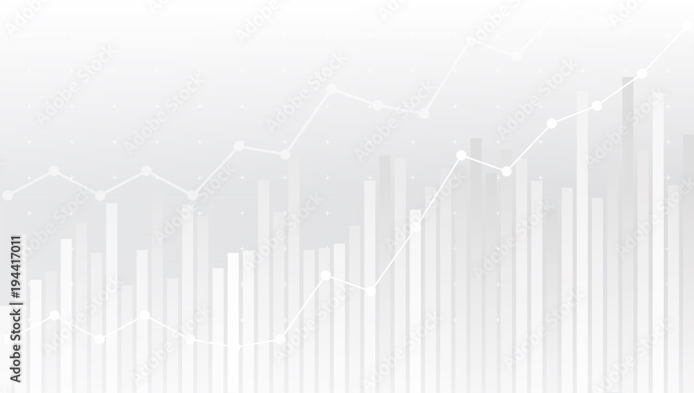 Fototapeta White Abstract Simple Uptrend Financial Chart Background