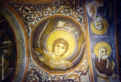Ancient mural painting in Dark Church in Goreme, Cappadocia, Turkey