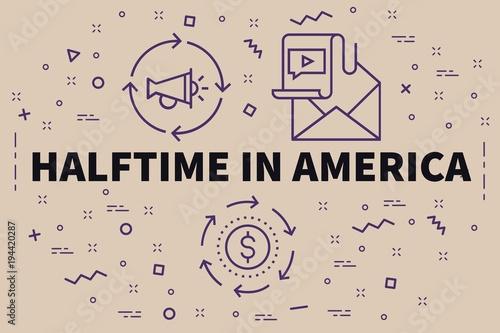 Obraz na plátně Conceptual business illustration with the words halftime in america
