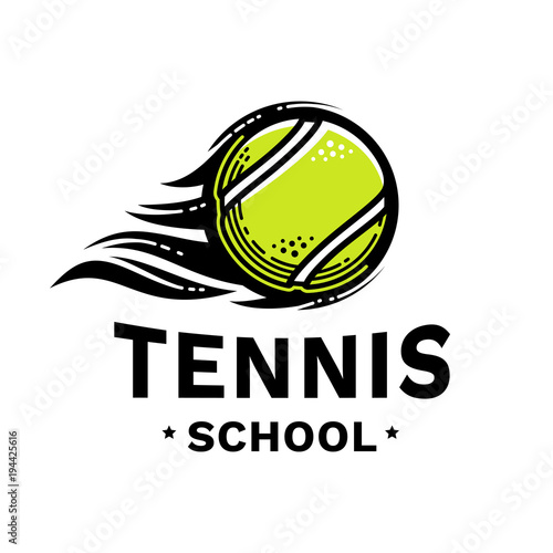 Tennis school emblem, illustration, logotype, modern line style, green color, on a white background Canvas Print