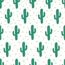Vector Seamless Simple Pattern With Cactuses On White Background