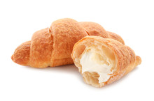 Tasty Croissants With Cream On...
