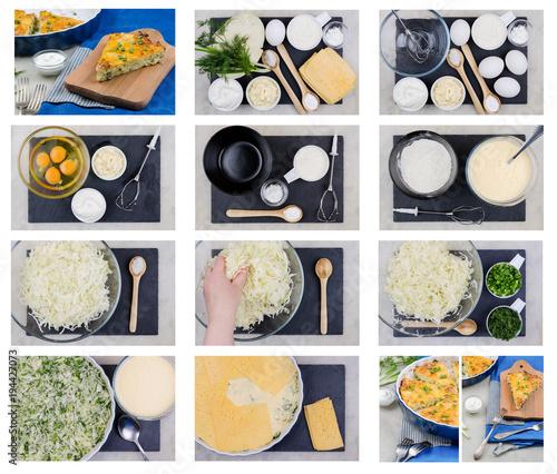 Fotografie, Obraz  Cabbage Casserole, Step-by-step recipe.