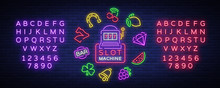 Slot Machine Is A Neon Sign. C...