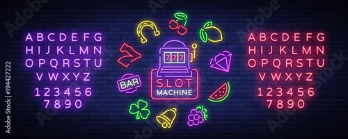 Fotografie, Obraz  Slot machine is a neon sign