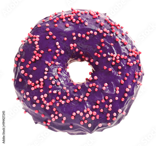 Delicious purple donut on white background