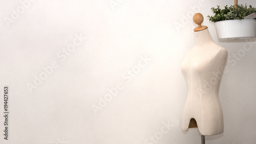 Fashion design woman mannequin in white room Canvas Print