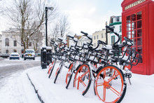 Bicycles In The Snow In A Lond...