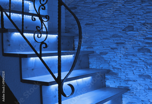 Photo Stands Stairs Blue night LED lighting wooden stairs