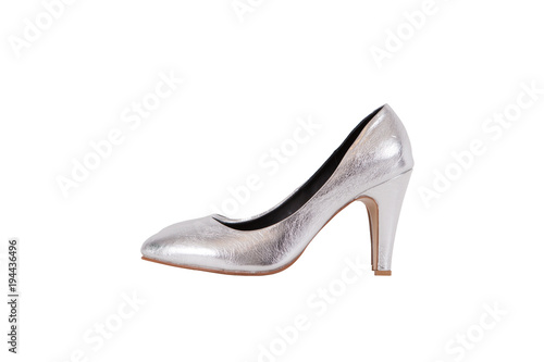 0d12065780a Side view of fashion silver high heel women shoes isolated on white  background.