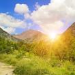 Beautiful mountain landscape and sunrise.