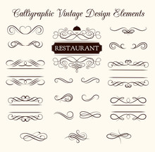 Vector Set Of Calligraphic Design Elements And Page Decorations. Elegant Collection Of Swirls.