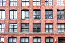 Pattern Of Brick Glass Window Building In Brooklyn, NYC, New York City, Front Exterior Grunge Old Architecture