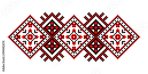 Fotografie, Obraz  Traditional Romanian folk art knitted embroidery pattern